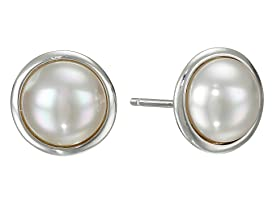 8mm Round Mabe On SS Earrings
