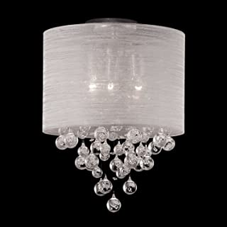 Drum Round Fabric Cloth Shade 2 Lamp Mini Flush Mount Crystal Teardrops Balls Ceiling Light Dia 12