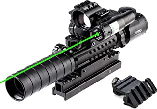 Pinty Rifle Scope 3-9x32 Rangefinder Illuminated Optics Red Green Reflex 4 Reticle Sight Green Dot Laser Sight with 14 Slo...