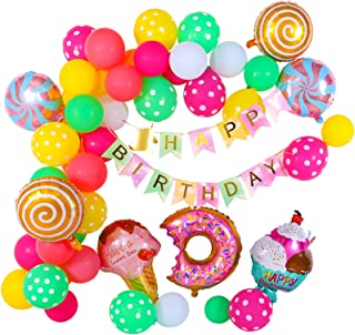 CUNYA Happy Birthday Banner with Latex Water Balloons Arch Kit, Foil Balloon Ice Cream, Candy, Donut Birthday Party Decora...