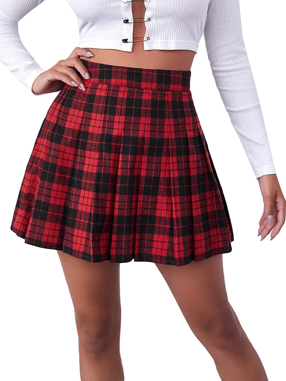 SheIn Women's Casual High Waist Plaid Pleated Zipper Side Mini Skater Skirt