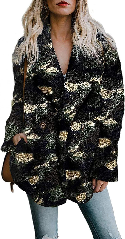ManxiVoo Women Notched Lapel Plush Fleece Jacket Double Breasted Faux Fur Warm Winter Outwear with Pocket