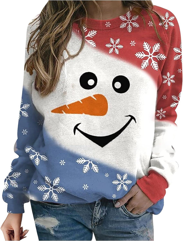 Chrismas Women Cute Snowman Elk Santa Claus Print Casual Fashion Crewneck Long Sleeve Tops Shirts Sweater Sweatshirt Pullover