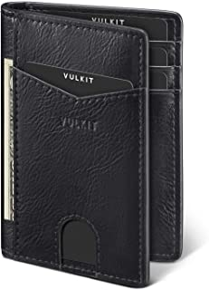 VULKIT Credit Card Holder RFID Blocking Slim Leather Wallet Anti Scan Bank Card Holder Quick Access with 10 Slots, Black