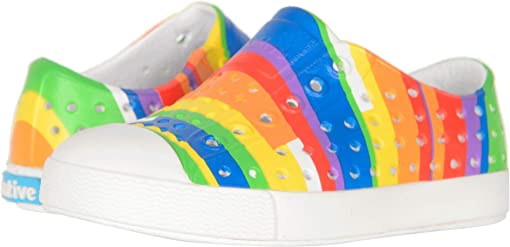 Shell White/Shell White/Rainbow Multi Stripes