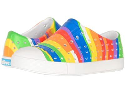 Native Kids Shoes Jefferson Print (Toddler/Little Kid) (Shell White/Shell White/Rainbow Multi Stripes) Kid