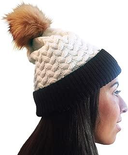 Unisex Knit Fall & Winter Beanie Hat Faux Fur Pom Pom White/Black/Brown Herringbone Design Warm Adjustable