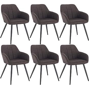 WOLTU 6 x Esszimmerstühle 6er Set Esszimmerstuhl Küchenstuhl Polsterstuhl Design Stuhl mit Armlehne, mit Sitzfläche aus Stoffbezug, Gestell aus