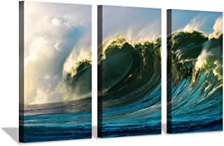 Ocean Wave Canvas Wall Art: Blue Seascape Artwork Picture Painting Print on Canvas for Living Room (34`` x 20`` x 3 Panels)