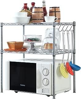 HOMFA Kitchen Microwave Oven Rack Shelving Unit, 2-Tier Adjustable Stainless Steel Storage Shelf