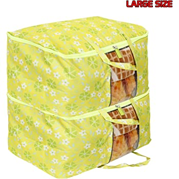HOKIPO® Waterproof Blanket Cover Bag Large Size Clothes Storage Organizer Bag, 60 x 45 x 30 cm, Green - Pack of 2 (AR2899-GRN*2)