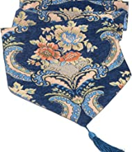 LivebyCare Heavy Elegant Flowers Embroidery Table Runners for Home Decorative Coffee Table 13 x 48 Inches Polyester Blue Table Runner