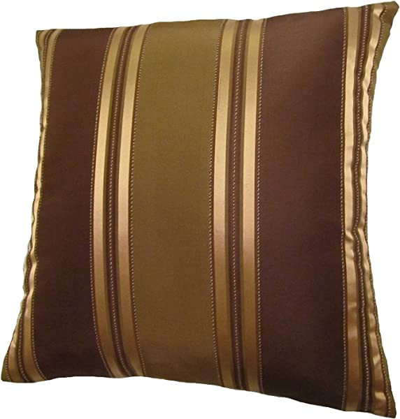 ReynosoHomeDecor 18x18 Bronze Gold And Brown Stripes Decorative Throw Pillow Cover