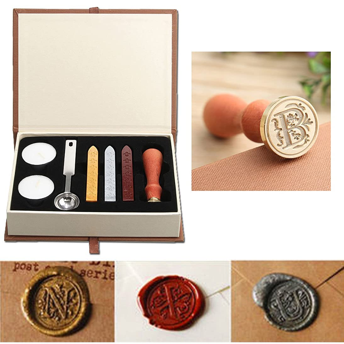 Seal Wax Kit,PUQU Vintage Initial Letters A-Z Alphabet Wax Badge Seal Stamp Kit Wax Set Tool Gift(B)