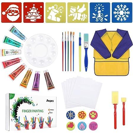 Anpro 38PCS Pintura de Dedos para niños, Suministros de Arte, Pintura de 8 Colores, Delantal Impermeable, Tablero de Dibujo de Molde, Papel de Dibujo, Juego de Pintura de Paleta