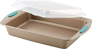 Rachael Ray 47551 Cucina Nonstick Baking Pan With Lid and Grips/ Nonstick Cake Pan With Lid and Grips, Rectangle - 9 Inch x 13 Inch, Brown