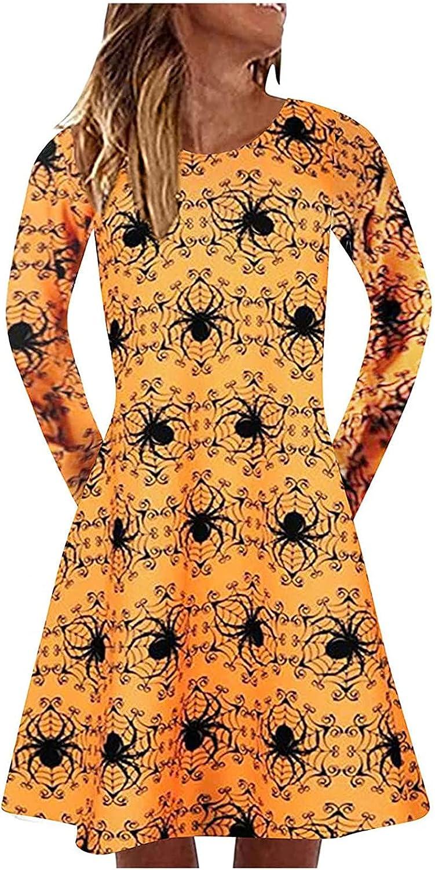 Women Halloween Fall Dresses 3/4 Sleeve Crewneck A-Line Prom Swing Cocktail Party Dresses Vintage Elegant Midi Blouse