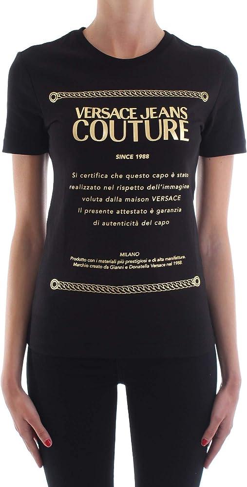 Versace jeans couture t-shirt a manica corta con stampa a contrasto colore oro da donna B2.HVA7T1.30320
