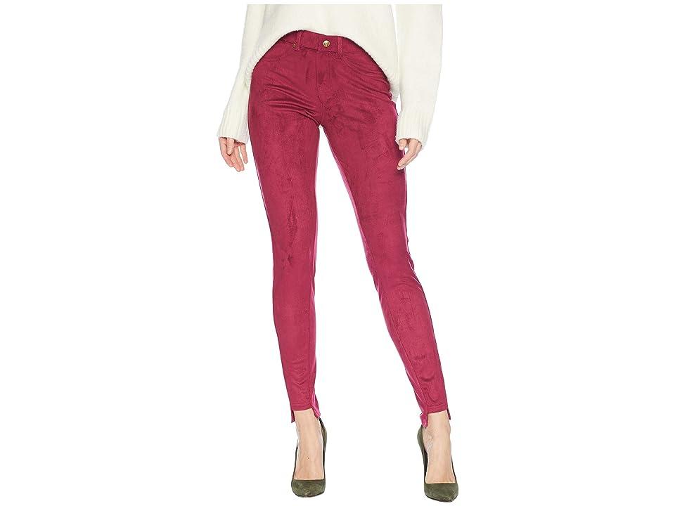 HUE High-Low Step Ankle Hem Suede Leggings (Beet Red) Women