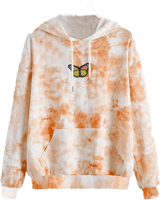 INNOVIERA Womens Hoodies Graphic,Women Butterfly Printed Sweatshirt Long Sleeve Tops Cartoon Cute Casual Drawstring Pullover