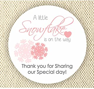 Baby Girl Shower Stickers - A Little Snowflake is on the way Stickers - Thank you for Celebrating with me Labels