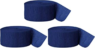 Andaz Press Crepe Paper Streamer Hanging Party Decorations Kit, 240-Feet, Navy Blue, 1-Pack, 3-Rolls, Colored Wedding Baby Bridal Shower Birthday Supplies