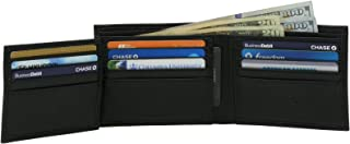 Mens Wallet Genuine Leather Divided Bill Section Flipout ID Bifold