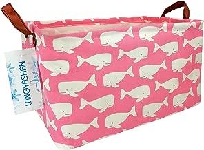 Rectangular Storage Bin Canvas Fabric Folding Gift Basket with Handles- Toy Box/Toy Storage/Toy Organizer for Boys and Girls - Nursery Hamper(Pink Whale)