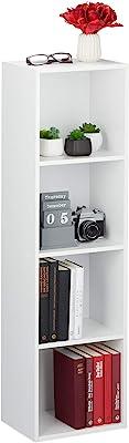 Relaxdays Livres, 4 casiers, Moderne,Salon, Etagère Droite élancée en PB, HxlxP 106 x 30 x 23 cm, Blanc, Panneau de Particules, 1 élément