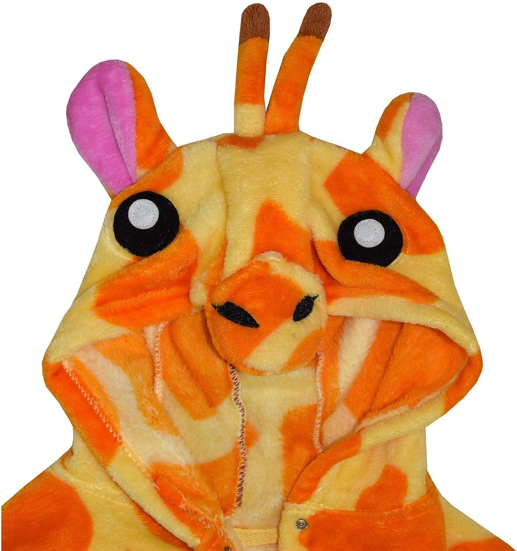 Kids Girls Bathrobe 3D Animal Giraffe Amber Fleece Dressing Gown Loungewear 2-13