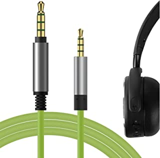 Geekria QuickFit Cable de audio compatible con el cable de auriculares ÂKG Y40, Y50, Y500, cable estéreo auxiliar de repuesto de 2,5 mm (verde 5,6 pies)