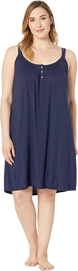 Plus Size Knit Double Strap Button Nightgown