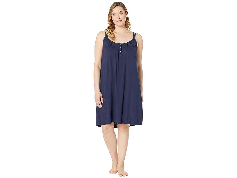 LAUREN Ralph Lauren Plus Size Knit Double Strap Button Nightgown (Navy) Women