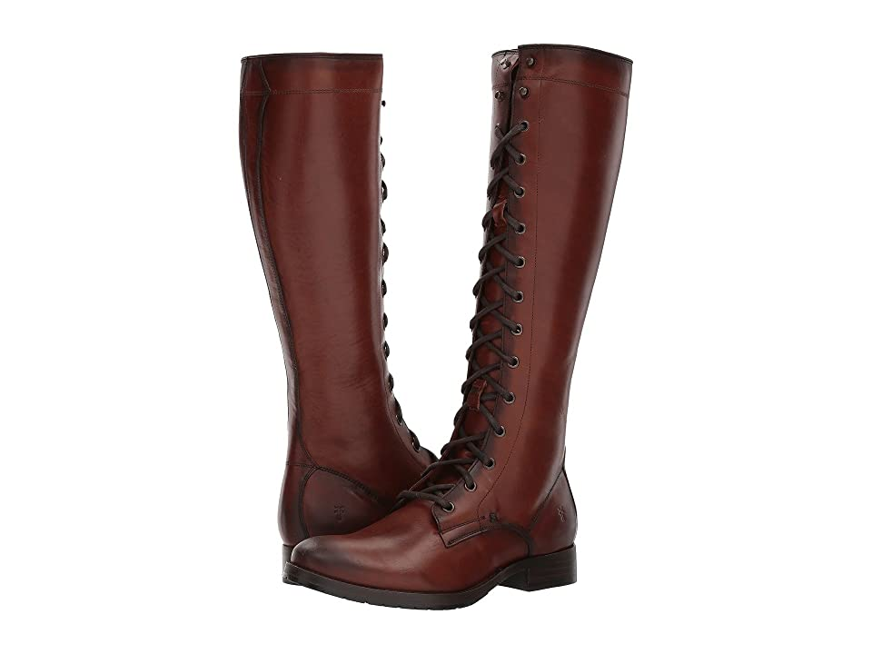 Vintage Boots- Winter Rain and Snow Boots Frye Melissa Tall Lace Redwood Smooth Oiled Veg Womens Lace-up Boots $458.00 AT vintagedancer.com
