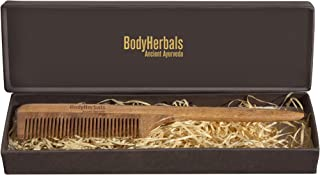 BodyHerbals Dressing Comb, Tail Comb Handle, 100% Neem Wood, Hand Made with Design in Gift box (Cream)