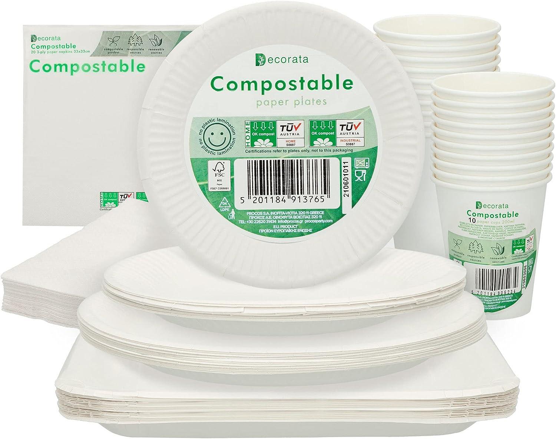 Aktive - Vajilla desechable, compostable, biodegradable, 120 piezas, 20 comensales, Vajilla ecológica, platos servilletas y vasos desechables, libre BPA, origen vegetal