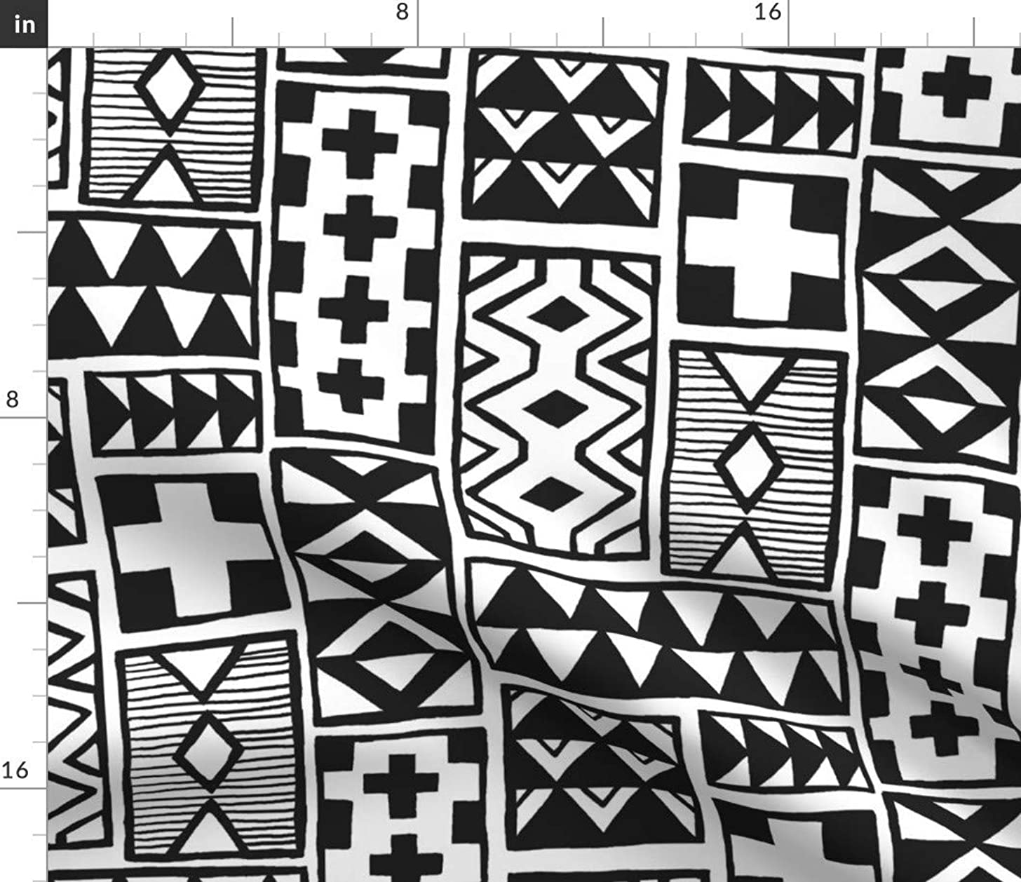 Spoonflower Graphic Fabric - Graphic Black White Geometric Modern Home Decor Graphic Modern Geometric Zig Zag Tribal Black by Leanne Printed on Petal Signature Cotton Fabric by The Yard