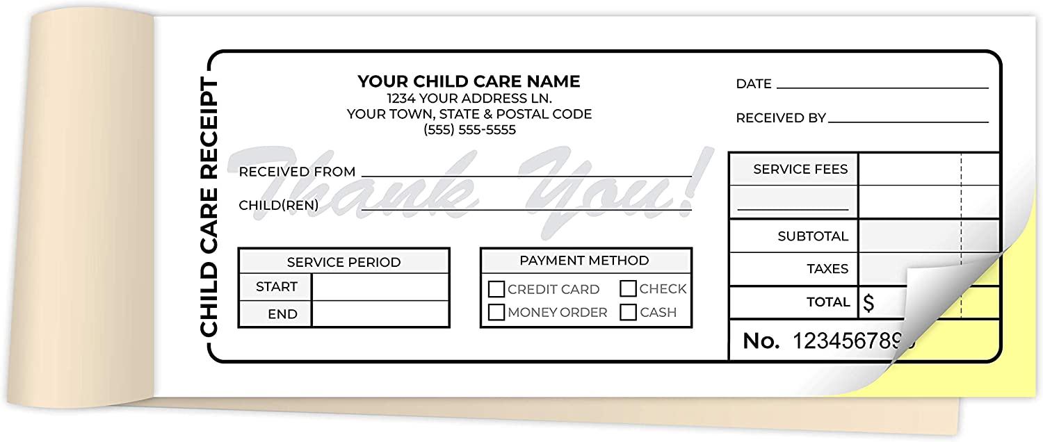=Custom quality Max 81% OFF assurance Printed 2.83 x 7 inches Care Receipt Child Bo Carbonless