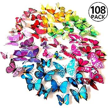 SUNFUA 48 Pi/èces 3D Stickers Muraux de Papillons avec Point de Colle pour D/écoration de Maison et Pi/èce Filles Chambre D/'enfants Papillons Papiers D/écoration