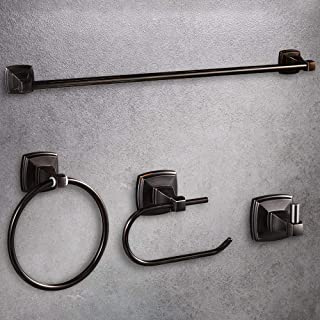 """LUCKUP Oil Rubbed Bronze 4 Piece Bathroom Accessory Set, Towel Bar Accessory Set, Include 24'' Towel Bar, Robe Hook,6.6"""" Towel Ring, and 7"""" Toilet Paper Holder, 304 Stainless Steel Wall Mounted"""