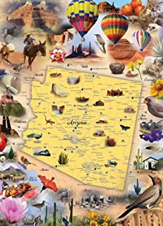 Hennessy Puzzles Arizona Map Jigsaw Puzzle - 1000 Piece - Map of The State of Arizona with Beautiful Illustrated Artwork Challenging Puzzle for Kids & Adults - Made in USA with Recycled Materials