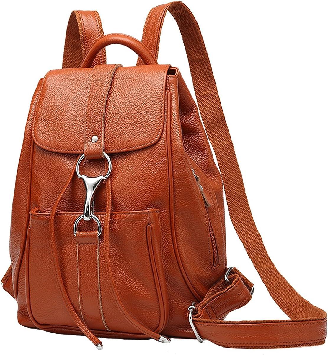 TUBACKPACK Soft Genuine Leather Backpack Handbags for Women's Satchel Shoulders Bag for Girls