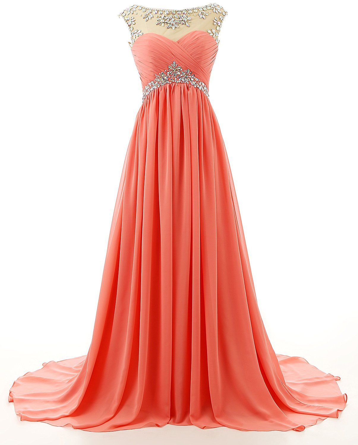 Available at Amazon: WenSai Women's Beaded Straps Bridesmaid Prom Dress Long Chiffon Evening Praty Gown