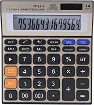 Pssopp 14 Digit Stand Function Desktop Calculator Basic Financial Calculator Solar Powered Accounting Calculator with LCD ...