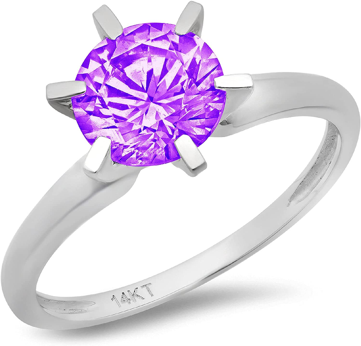 Clara Pucci 2.0 ct Brilliant Round Cut Solitaire Natural Purple Amethyst Gemstone 6-Prong Engagement Wedding Bridal Promise Anniversary Ring in Solid 18K White Gold for Women