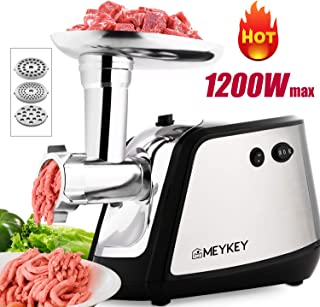 Meat Grinder Electric,Himimi 1200W Max Metal Food Grinder and 3-IN-1 Sausage Stuffer, Meat Mincer with Kubbe Kits Included, 3 Grinding Plates, Stainless Steel