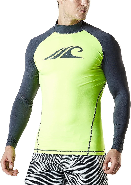 TSLA Men's Super Special SALE held UPF 50+ Long Sleeve Rash UV SPF OFFicial Swim Dry Quick Guard