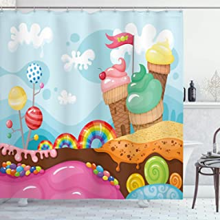 Ambesonne Ice Cream Shower Curtain, Dessert Land with Rainbow Candies Lollipop Trees and Cupcake Mountains Cartoon, Cloth Fabric Bathroom Decor Set with Hooks, 70