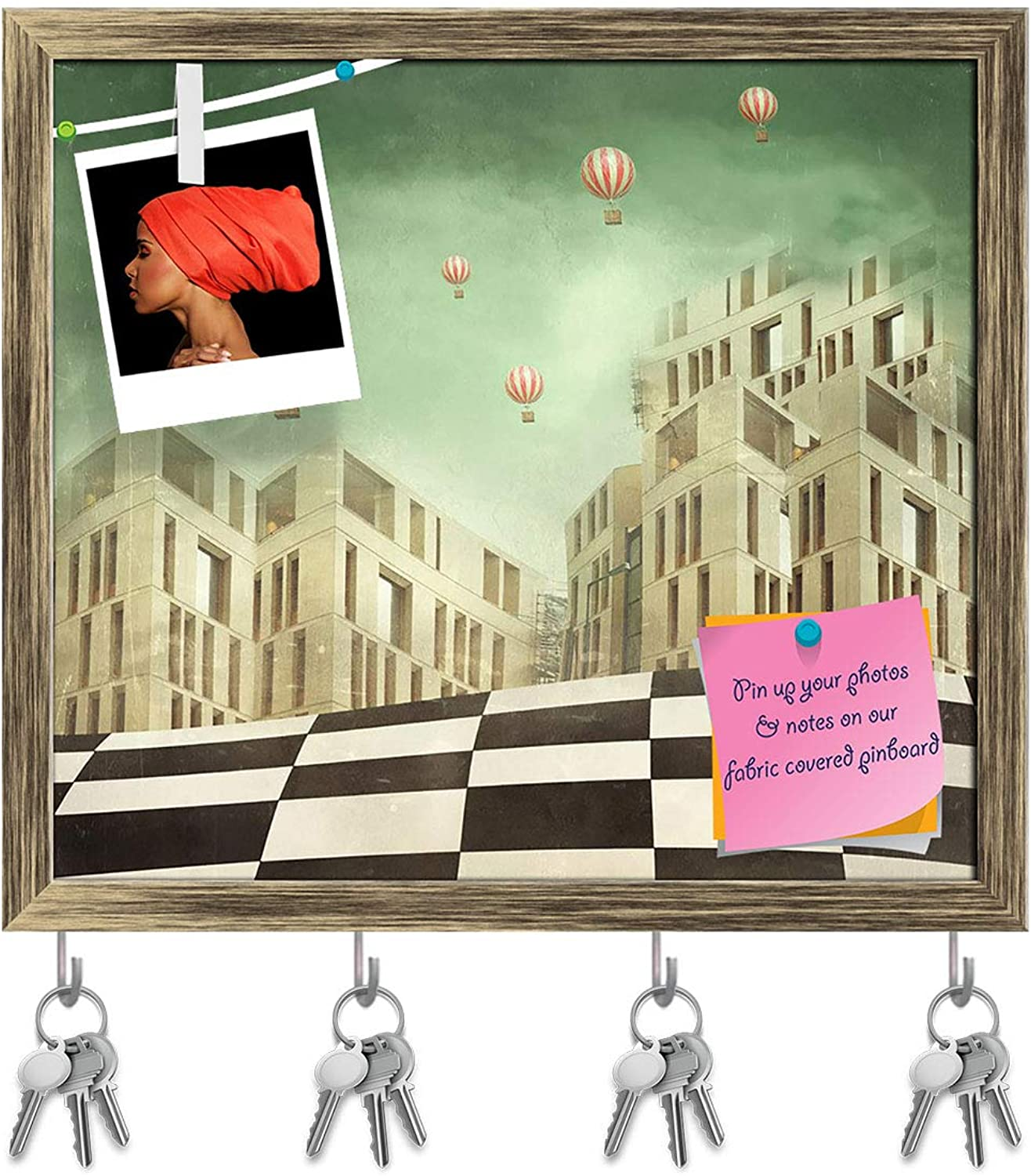 Artzfolio Modern Buildings & Balloons in A Surreal Landscape Key Holder Hooks   Notice Pin Board   Antique golden Frame 17.9 X 16Inch