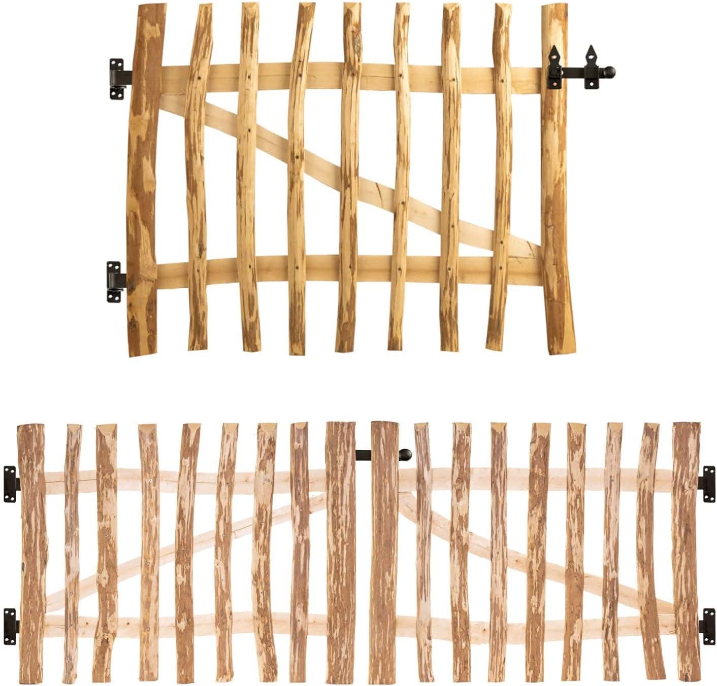 Juego de construcción de puerta de jardín de avellana, 120 tamaños, 80-300 cm de ancho, 80-150 cm de alto, distancia entre láminas de 3-5 o 7-9 cm, ancho 110 cm, altura 140 cm, 7-9 cm